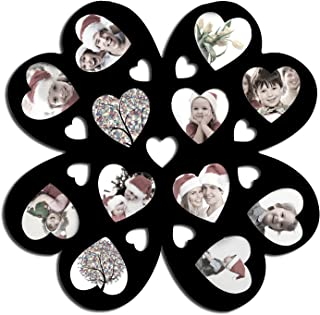 Adeco PF0180 Decorative Black Wood Wall Hanging Multi-Heart, Flower Collage Puzzle Frame, 12 Openings, 4''X4