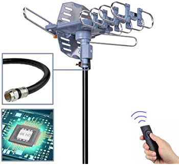 PBD Digital Outdoor TV Antenna, 150 Mile Motorized 360 Degree Rotation Support 2 TVs, Mounting Pole, 50FT RG6 Coax Ca...