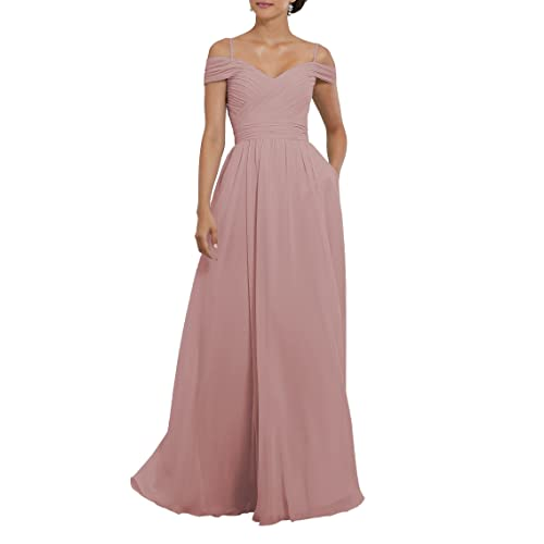 59f8e952934 YORFORMALS Women s Off The Shoulder Pleated Chiffon Bridesmaid Dress Formal  Evening Party Gown Pockets
