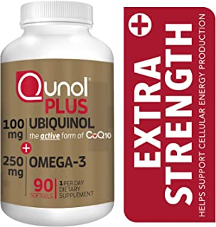 Qunol Plus Ubiquinol CoQ10 100mg with Omega 3 Fish Oil 250mg, Extra Strength Antioxidant Supplement, 90 Count