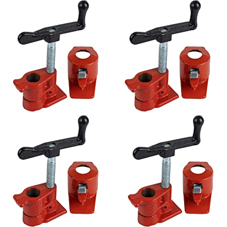 """4 Pack Muzerdo 1/2"""" Wood Gluing Pipe Clamp Set Heavy Duty Woodworking Cast Iron Clamps"""