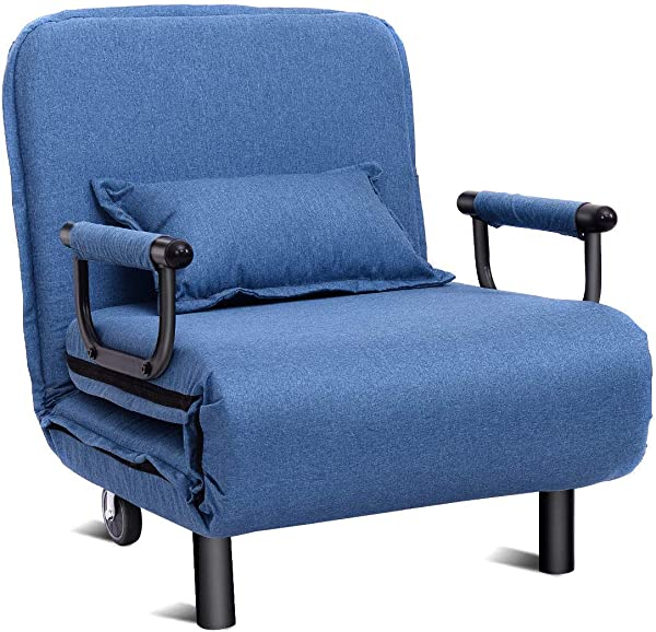 Giantex 26 5 Convertible Sofa Bed Folding Arm Chair Sleeper Leisure Recliner Lounge Couch Blue