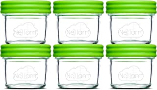 Nellam Baby Food Storage Containers - Leakproof, Airtight, Glass Jars for Freezing & Homemade Babyfood Prep - Reusable, BP...