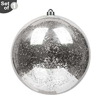 "KI Store Oversized Christmas Ball Ornament Silver 10-Inch Huge Decorative Hanging Mercury Ball 10"" Shatterproof Vintage for Xmas Decoration Set of 1"