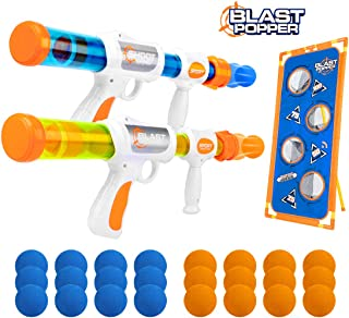XtoyZ Air Powered Shooter Toy Guns Shooting Games - Foam Ball Popper Guns and Shooting Targets, Toy Guns for Kids 2pk with 24 Foam Balls