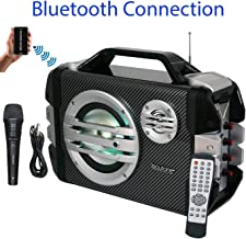 Boytone BT-51M Portable Bluetooth Speaker with Microphone, FM Radio, USB Port | MP3| AUX Ports, Built in Rechargeable Battery | Flashing DJ Lights | Remote Control