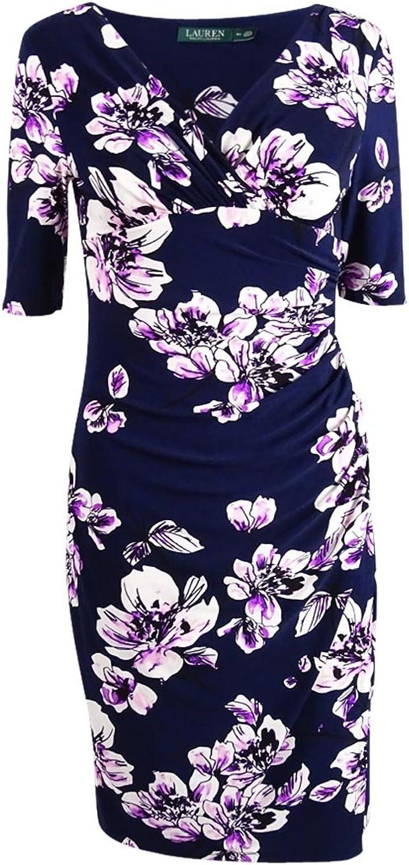 Lauren Ralph Lauren Womens Petites Jersey Short Sleeve Wrap Dress