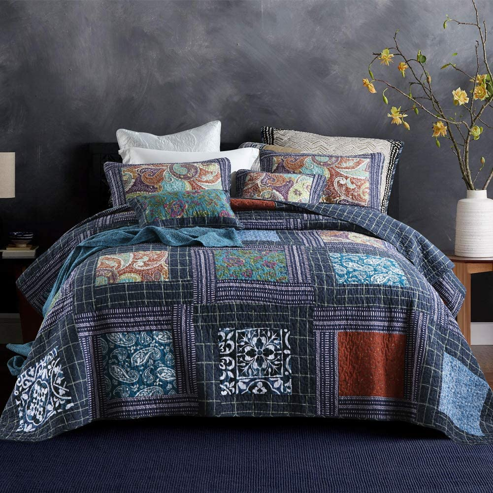 Secgo Clearance SALE! Limited time! Floral Pattern Quilt Set Queen Pi Size with Inch Bargain sale 90x98 2