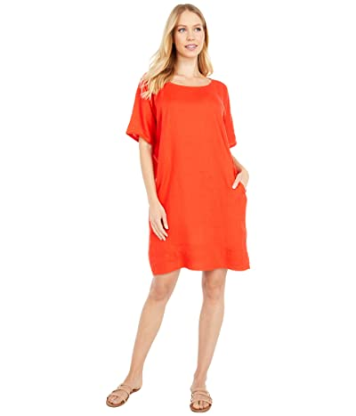 Eileen Fisher Petite Round Neck Short Sleeve Dress (Geranium) Women
