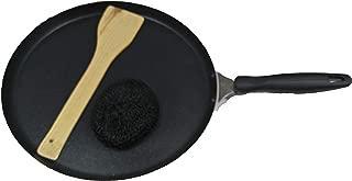 Dosa Pan,Nonstick Dosa Tawa/Griddle, Roti-Chapati Tawa,2.6 MM Thickness, Black with 1-Piece Scrubber & 1-Piece Wooden Spatula,Valentine Day Gifts