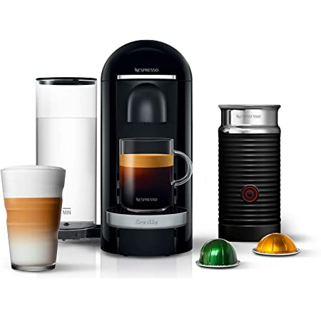 Nespresso VertuoPlus Deluxe Coffee and Espresso Machine Bundle with Aeroccino Milk Frother by Breville, Black