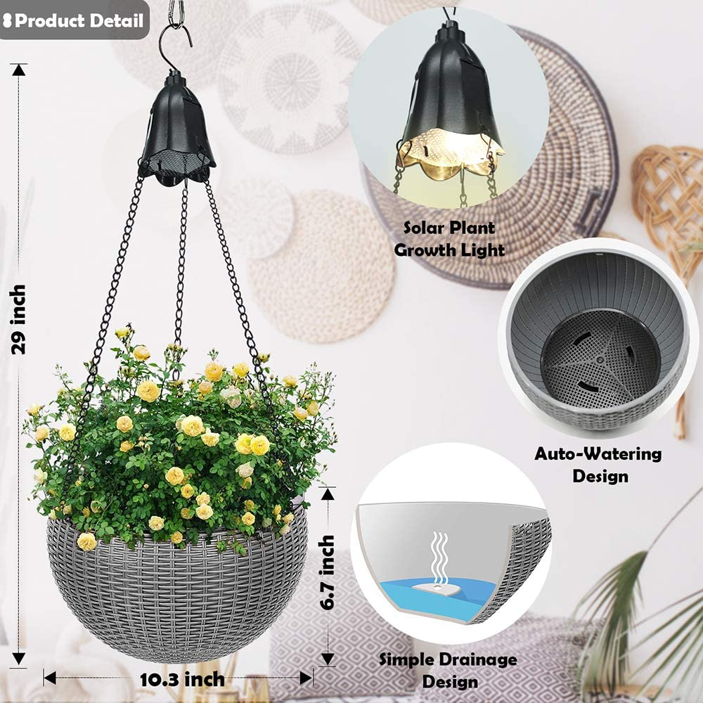 Hanging Basket Planters with Solar Lights Dual pots Design Self Watering  Flower Hanging Holder Pots with Drainer & Chain