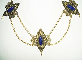 VICTORIAN FESTOON NECKLACE Czech LAPIS BLUE GLASS Stones GOLD Plated