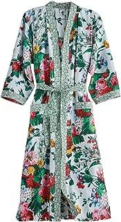 CATALOG CLASSICS Women's Cottage Garden Robe - Belted Floral Print Kimono - Cotton