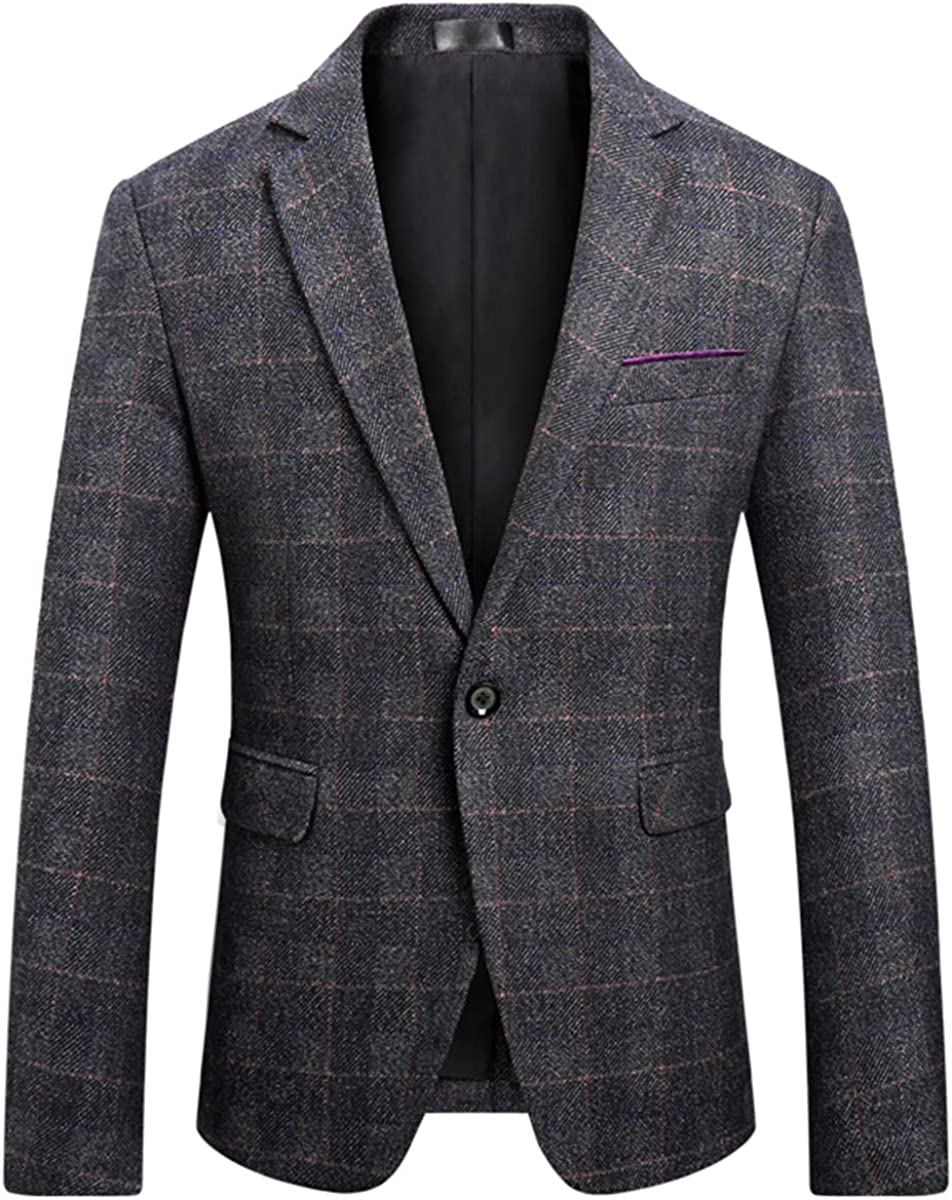 Men's Classic Plaid Sport Coats Casual One Button Single Breasted Notched Lapel Checked Suit Jacket