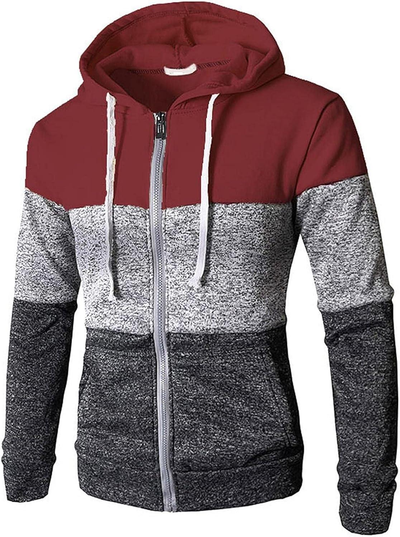 SUIQU Jackets for Men with Hood Autumn Triple Color Block Zipper Drawstring Long Sleeve Fashion Hooded Sweatshirts Coat
