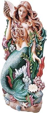 Design Toscano NG33502 Melody's Cove Mermaid Coastal Decor Wall Sculpture, 29 Inch, Full Color