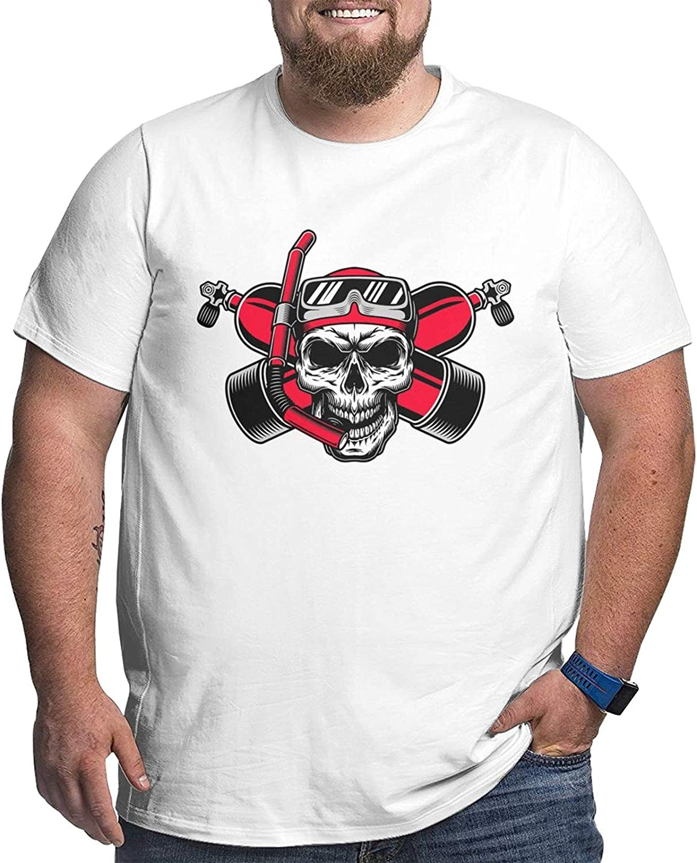 Scuba Diving Skull Flag Dive Diver Mans Simple Big Size Summer Outdoor Short Sleeve Round Collar Tshirt