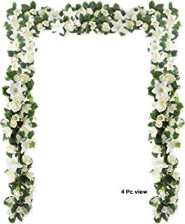 6 Feet Artificial Rose and Lily Garland, Artificial Silk Rose Lily Flower Ivy Vine Leaf Hanging Garland Wreath Garland for Home Wedding Wall Decor Lily (White)