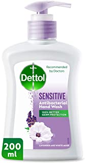 Dettol Sensitive Anti-Bacterial Liquid Hand Wash 200ml - Lavender & White Musk