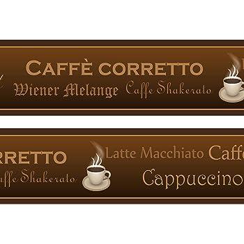 Kaffeetassen Bohnen Zucker braun K/üche Bar Tapete Bord/üre Retro Design Rolle 15/x 17,8/cm