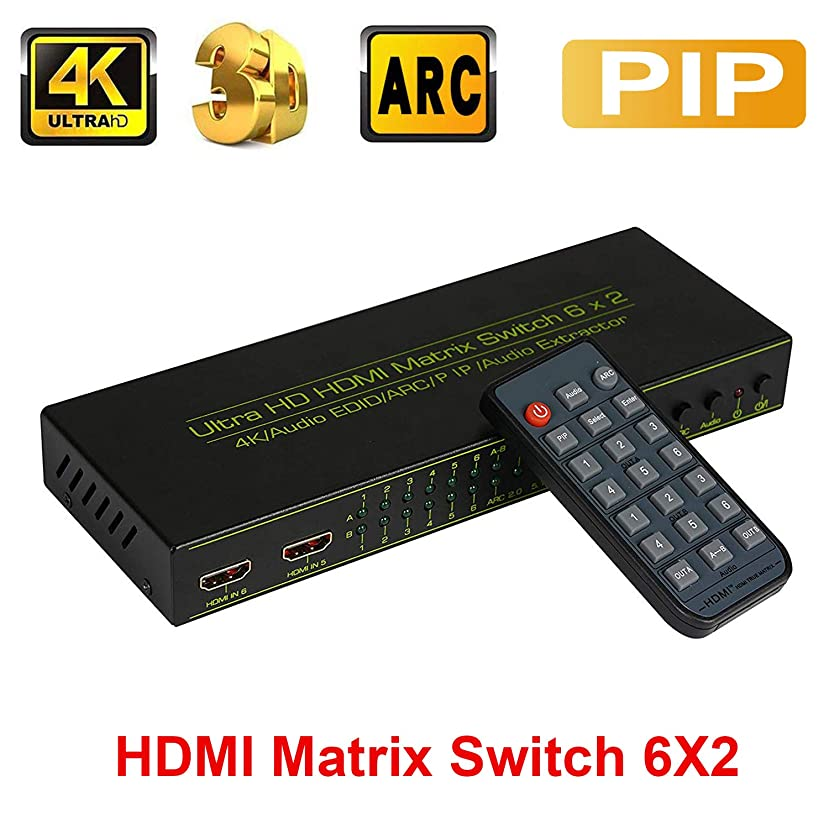 HDMI Switch Splitter, ZAMO 6 in 2 Out HDMI Matix Splitter, Support 4K/Audio EDID/ARC/Audio Extractor