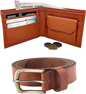Poland Artificial Leather Tan Wallet and Belt for Men and Boy's