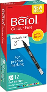Berol Colour Fine Fibre Tipped Pen with 0.6 mm Line Width - Assorted Colours, Pack of 12
