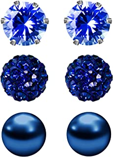 Birthstone Studs Earring Set Cubic Zirconia Rhinestones Crystal Ball Faux Pearl Stainless Steel Stud Earrings for Women Girl Jewelry Gift (6mm Round,3 Pairs)