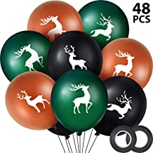 Buck Deer Party Balloons Set, Includes 48 Pieces Woodland Latex Deer Balloon and 2 Rolls Band for Lumberjack Camo Chirstmas Party Decorations (Dark Color)