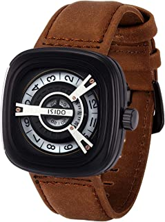 ISIDO Mens Watches - Waterproof Quartz Wrist WatchesforMen - Luxury Fashion Industrial Spirit WatchesforWomen with Genuine Calf LeatherWatch Straps
