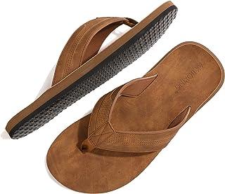 Chanclas Hombre Flip Flops Cuero Sandalias Verano Antideslizante Piscina Playa Interior Talla 41-46