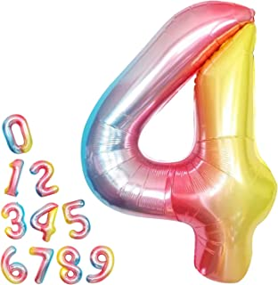 Rainbow Number 4 Balloon for 4th Birthday - Large, 40 Inch | Rainbow 4th Birthday Balloons | Gradient Number Four Balloon ...