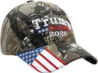 HaoDian Trump Hat 2020 Keep America Great Embroidery USA Flag Baseball Camo Cap