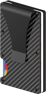 Porta carte di credito in fibra di carbonio con clip fermasoldi in metallo - Portafoglio sottile in metallo per uomo e don...