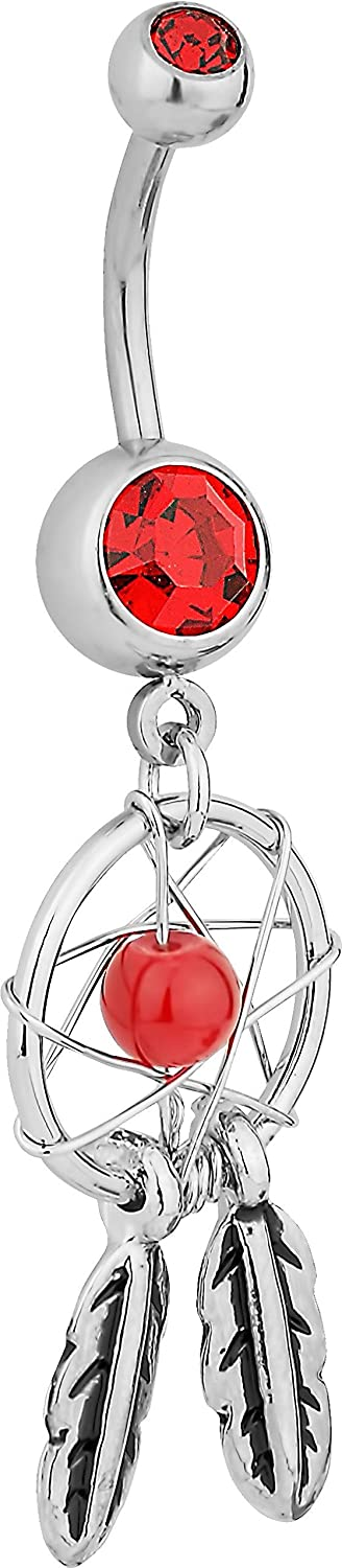 Forbidden Body Jewelry Surgical Steel Red Double Jeweled Dream Catcher Feathers Dangle Belly Button Ring