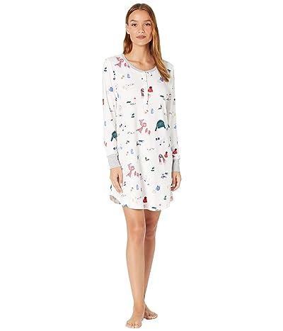 Kate Spade New York Brushed Jersey Long Sleeve Sleepshirt (Bundled Up) Women