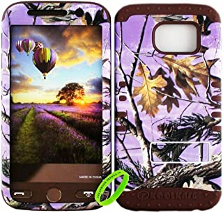 Cellphone Trendz Dual Layer Soft Hard Hybrid High Impact Protective Case Cover for Samsung Galaxy S6 G920 - Purple Camo Real Hunter Series Mossy Oak Branch Leaves Tree Design Hard Case on Brown Skin