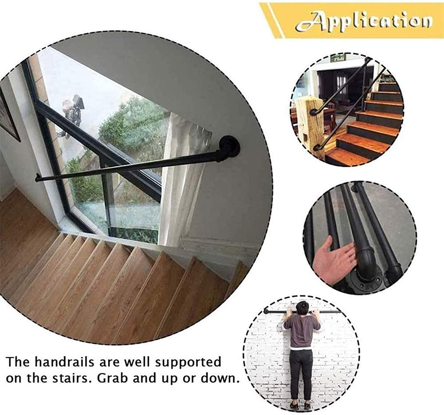 ZYUN Stair Handrail Industrial Wind Wrought Iron Stair Handrail Home Indoor Loft Against The Wall Old Non-Slip Kindergarten Handle,1ft