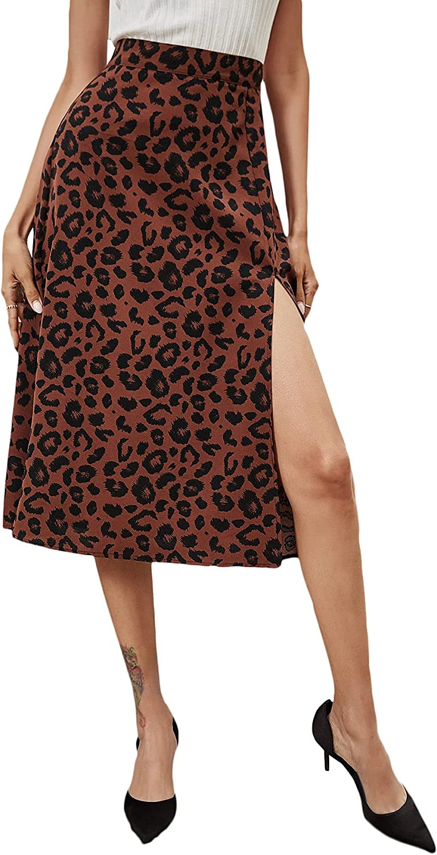 WDIRARA Women's Leopard Print Split Side High Waist Zip Back Midi Skirt