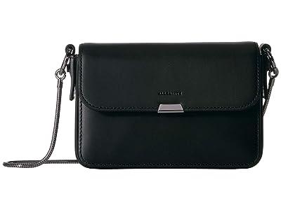 AllSaints Captain Mini Flap Crossbody (Black) Handbags