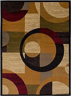 Contemporary Area Rug. Burnt Orange, Dark Red, Black, Dark Brown, Khaki, Medium Gray, O 7'10