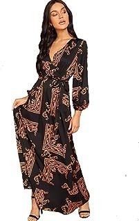 Women's Elegant Wrap Split Floral Print Flowy Party Maxi Dress