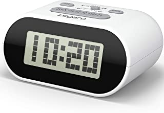 ZEGARO Digital Alarm Clock for Bedroom - 2.6'' LCD Display with Blue LED Backlight Light & Small, Big Numbers, Battery Operated | Easy to Use for Kids Girls Boys Teens & Elderly (Cloud White)