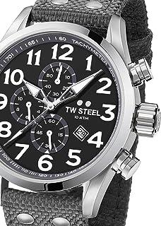 TW Steel Men's Volante Stainless Steel Japanese-Quartz Watch with Nylon Strap, Grey, 22 (Model: VS13)