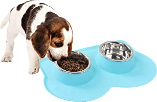 Pet Food and Water Bowls with 2 Stainless Steel Bowl & No Spill Non-Skid Silicone Mat Dog Cat Puppy Kitten Double Feeding ...