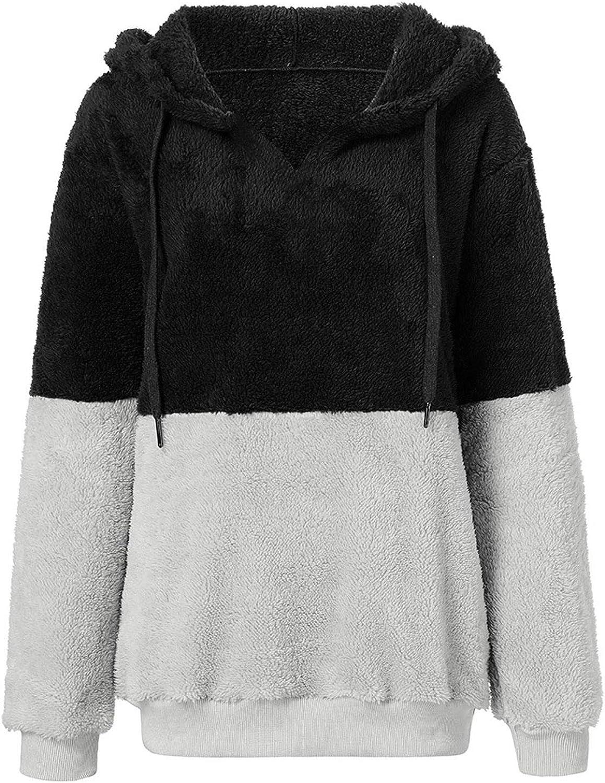 DAIFINEY Damen Mantel Jacke Plüschmantel Kapuzenjacke Plüschpullover Sweatshirt Wintermantel Winterjacke schlanke Outwear winterwarmer Mantel Coat 1-schwarz/Black