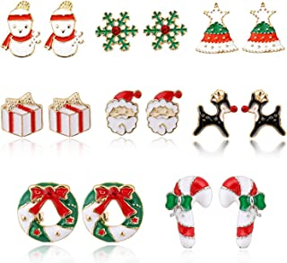 Christmas Earrings for Girls Hypoallergenic Cubic Zirconia Star Snowflake Cute Jewelry Set Snowman Candy Cane Santa Stud Earring