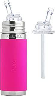 Pura Kiki Stainless Steel 9 Ounce Vacuum Insulated Bottle with Silicone Straw, Pink, Plus 1 Extra Silicone Straw