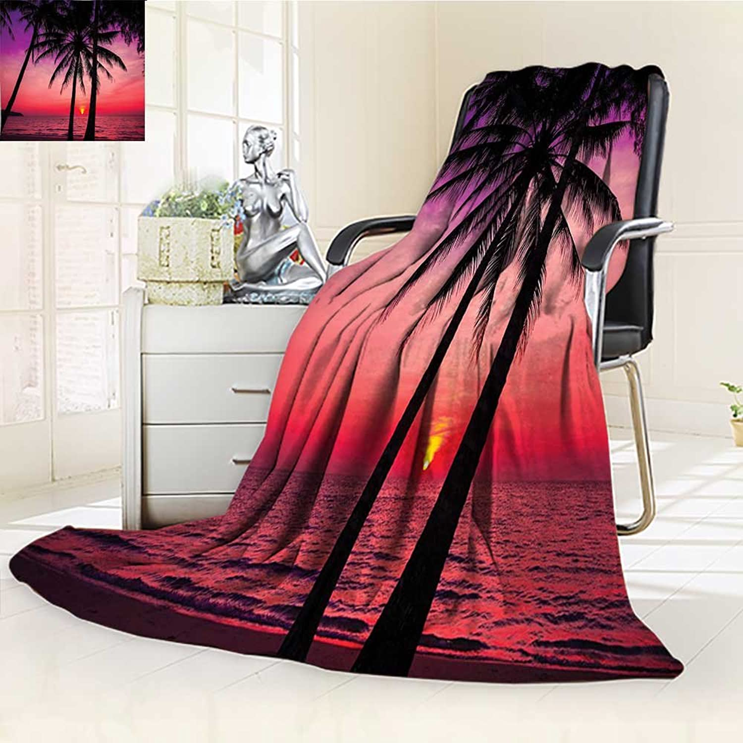 YOYI-HOME Digital Printing Duplex Printed Blanket Silhouette on Sunset Tropical Coastline Exotic Vacations Image Magenta Purple Summer Quilt Comforter  W59 x H39.5